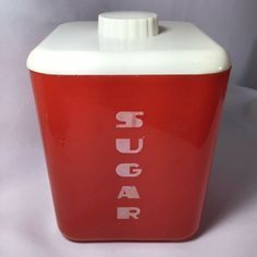 Lustro Ware Plastic Sugar Canister Red Color No 112 Does have a Crack on the back corner that is about inches long please see pics LUSTRO WARE SUGAR red canister. It is tall with the lid, 6 without 5 square Red Canisters, Plastic Canisters, Kitchen Canisters, Kitchen Cupboard, Sugar Canister, Coffee Canister, Canister Sets, Beaded Boxes, Canister Vacuum