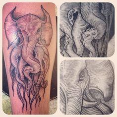Tatuagem feita por Camilo Nunes. #tattoo #tatuagem #ink #elephant #octopus