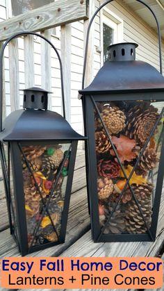 Easy Pinecone Lantern Festliche Ferienhausdekoration - EASY Fall Home Decor, da. Easy Pinecone Lantern Festive holiday home decoration - EASY Fall Home Decor that everyone can do! Buy some metal lanterns, add some ta - Large Candle Lanterns, Fall Lanterns, Large Candles, Lanterns Decor, Decorating With Lanterns, Decorative Lanterns, Decorating With Pine Cones, White Lanterns, Easy Home Decor