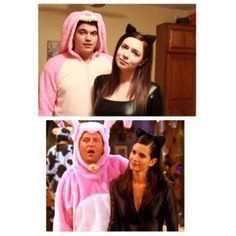 "Best Halloween Costume Idea of 2016! - Monica Geller and Chandler Bing from Friends dressed up as Cat Woman and a big pink bunny from Episode titled ""The One with the Halloween Party"""