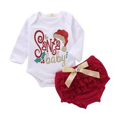 Sweet deal of 2 beautiful pieces Long sleeve printed bodysuit + Red tutu  shorts Lace ruffle 22d3c137e