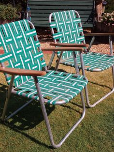 fix as some lawn chairs clue. retro vintage funky - woven outdoor 2 aluminium webbed lawn chairs teak armrests fix as some clue e