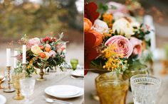 Gold Compote Centerpiece - http://www.fabmood.com/burnt-orange-peach-and-plum-wedding-autumn-weddings/