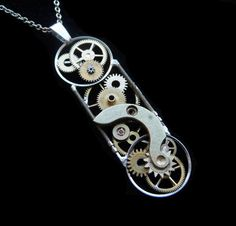 """Clockwork Pendant """"Time Capsule"""" Recycled Mechanical Watch Gears Intricate Parts Sculpture Machine Steampunk Necklace OOAK Metal Necklace"""