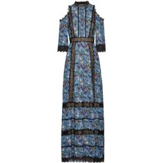 Alice + Olivia Gatz lace-trimmed satin-crepe maxi dress ($900) ❤ liked on Polyvore featuring dresses, maxi dress, blue floral dress, satin maxi dresses, cold shoulder dress and long-sleeve floral dresses