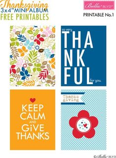 Thanksgiving 2015 Free 3×4 Project Life Journaling Cards & Filler Cards