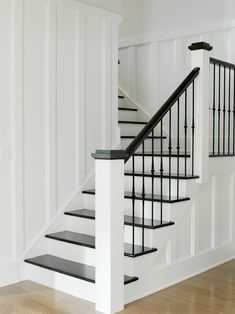 Westport Farmhouse for the Modern Traditionalist traditional staircase Modern Staircase FARMHOUSE modern Staircase traditional Traditionalist Westport Painted Staircases, Staircase Railings, Modern Staircase, Staircase Ideas, Banisters, Stairways, Metal Spindles, White Staircase, Iron Balusters