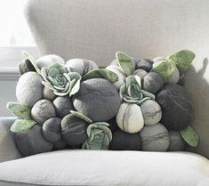 felted rocks lumbar pillow