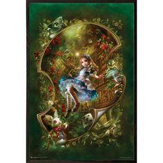 USA Alice 24-inch x 36-inch Poster with Walnut Architect Wood Frame