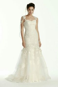 Lace Fit N Flare Wedding Gown Featuring A Layered Tulle/Lace Skirt; Oleg Cassini Collection for David's Bridal
