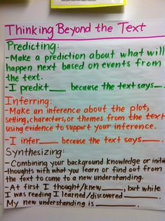 Middle School Teacher to Literacy Coach: Guided Reading Anchor Charts: Thinking Beyond the Text