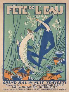 Vintage French Mermaid Poster Art Metal Sign Bar Coastal Decor Reproduction