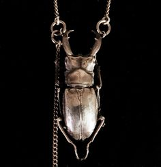 Handmade Stag Beetle Womens Pendant sterling silver, cast from a REAL beetle Original Metalsmith Design Annie Montgomery PURE JEWELRY. $280.00, via Etsy.