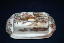 Holiday Pattern Covered Butter Dish,  TransferewareNasco Japan
