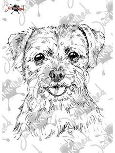 Digital Stamp Border Terrier