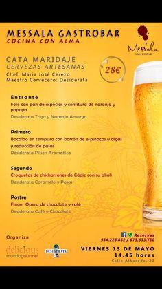 Cata maridaje celebrada el viernes 13 de mayo de 2.016 en Messala Gastrobar. Sevilla