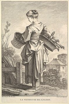 La Vendeuse de Sçelery/The Seller of Celery. John Ingram (British, London 1721 active to Artist:After François Boucher (French, Paris Paris) The Seller of Celery 18th Century Clothing, 18th Century Fashion, 18th Century Dress, Chinoiserie, Old Master, Working Woman, Historical Clothing, Fashion Plates, Illustrations