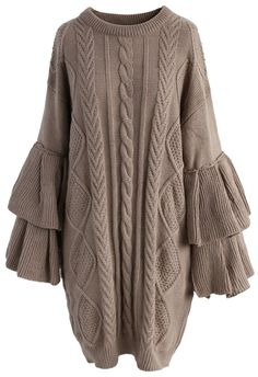 Cable Knit Sweater Dress with Tiered Flare Sleeves - New Arrivals - Retro, Indie and Unique Fashion