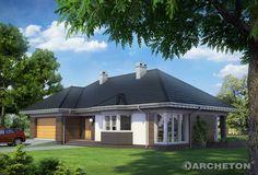 Projekt domu Syriusz Atu - przestronny dom parterowy, pokryty dachem wielospadowym, z dużym garażem na 2 samochody