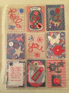 My first pocket letter-American Pride. Red, white and blue theme.