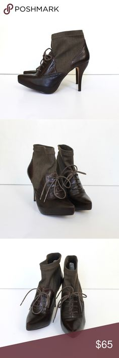 """Max Studio Lace Up High Heel Sock Ankle Booties Max Studio brown leather lace-up ankle booties have a knit shaft, covered platform, a stacked high heel, pointed toe, leather interior, and leather outer sole. Super soft leather. Excellent condition - worn once. Minimal normal wear on the outer sole.   Size 7  //  Fits true to size  Heel 4.25"""" Platform 3/4"""" Shaft 4"""" Opening 9"""" + 1/2"""" stretch Max Studio Shoes Ankle Boots & Booties"""