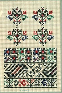 FolkCostume&Embroidery: Charted Embroidery designs from Vrlika, Dalmatia, Croatia Cross Stitching, Cross Stitch Embroidery, Embroidery Patterns, Knitting Patterns, Cross Stitch Designs, Cross Stitch Patterns, Palestinian Embroidery, Viking Tattoo Design, Xmas Stockings