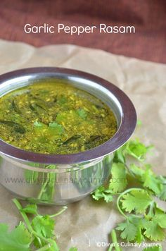 Garlic Pepper Rasam- Spicy tangy South Indian soup with garlic and pepper . It aids in digestion and can be had as a remedy for cold.