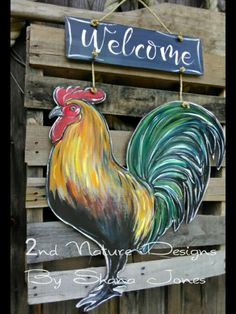 One of my free hand welcome/rooster door hangers painted in acrylics Canvas Door Hanger, Fall Door Hangers, Burlap Door Hangers, Painted Doors, Wooden Doors, Painted Signs, Farm Animal Crafts, Farm Animals, Burlap Wall Hangings