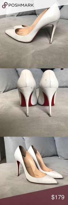 Christian Louboutin Pumps White size 38 Used - and look used! These were one of my favorite pairs of Louboutin's! Extremely comfortable and look so pretty! Shoes have few scuffs and scratches as seen in the photos Christian Louboutin Shoes Heels