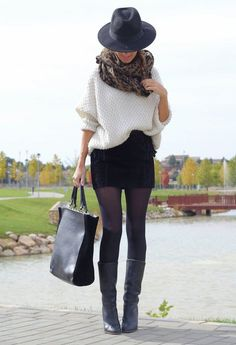Flamboyant Gamine: Chunky oversize sweater, large infinity scarf, short slim miniskirt, tights, boots (the more trendy the boots the better), angular tote, chunky jewelry, hat of some kind.