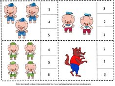 Three Little Pigs,Task Cards,Count and Clip Cards, Fairy Tale Activities Math Activities, Preschool Activities, Three Little Pigs Houses, Fairy Tale Activities, Special Education Math, Alphabet Sounds, Nursery Rhymes, Math Centers, Kids Learning