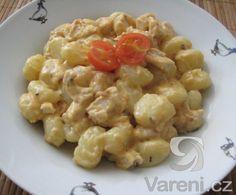 Jednoduché gnocchi se smetanou, kuřecím masem a houbami. Gnocchi, Risotto, Macaroni And Cheese, Menu, Treats, Ethnic Recipes, Menu Board Design, Sweet Like Candy, Mac And Cheese