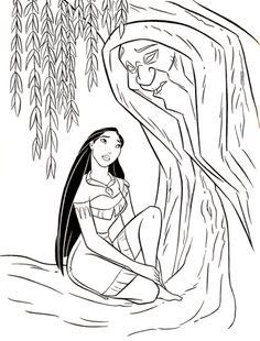 Walt Disney Coloring Pages - Pocahontas & Grandmother Willow wallpaper in The Walt Disney Characters Club Pocahontas Drawing, Disney Pocahontas, Disney Art, Easy Cartoon Drawings, Cute Disney Drawings, Easy Drawings, Disney Coloring Pages, Coloring Books, Grandmother Willow