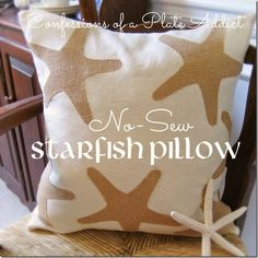 No-sew starfish embellishments for a ready made pillow