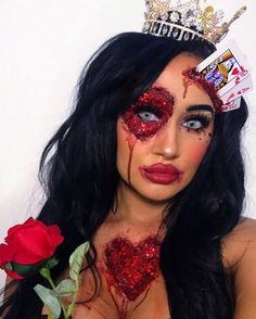 "279 Likes, 12 Comments - M A K E U P  B Y  T A S H (@makeupby_tashxx) on Instagram: ""QUEEN OF HEARTS♥️♠️♣️♥️ A queen won't find her king if she's busy messing with jokers❌ Inspired…"""