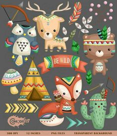 Tribal Animal Clipart - Cute Animal Clipart - Native Tribe Animal - Free SVG on Request Cute Animal Clipart, Cute Clipart, Woodland Creatures, Woodland Animals, Tribal Animals, Cute Animals, Fireworks Clipart, Woodland Party, Cute Art