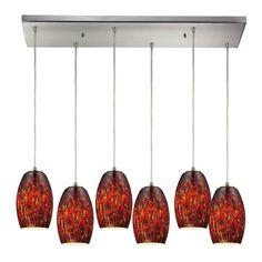 ELK Lighting 10220/6RC-EMB Maui Collection Satin Nickel Finish