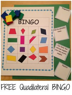 Have students create their own Bingo board by either writing quadrilaterals into boxes or having them cut shapes and glue down. Work on recognition of shapes and their characteristics with this FREE bingo game. Geometry Lessons, Teaching Geometry, Geometry Activities, Math Lessons, Math Activities, Geometry Games, Fourth Grade Math, First Grade Math, Grade 3