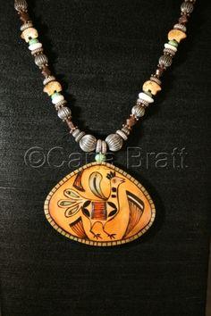 Zuni Bird shard necklace, by gourd artist Carla Bratt.    Series 1 - 2007
