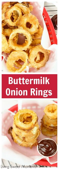 These Easy Buttermilk Onion Rings are battered and fried to perfection and make a delicious side dish to any meal. Serve with a tasty dipping sauce. A great party appetizer recipe! Finger Food Appetizers, Appetizer Recipes, Beer Battered Onion Rings, Buttermilk Recipes, Onion Rings Recipe Buttermilk, Blooming Onion, Onion Recipes, Beef Recipes, Recipies