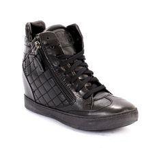 Black Stitched Leather Hidden Lace-Up / Side Zippers Wedge Ankle Booties / Sneakers 20% OFF- Code PINTEREST20