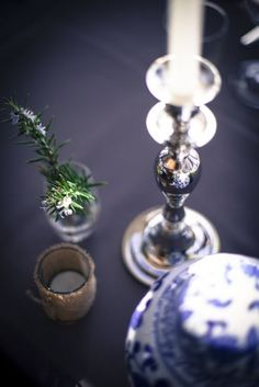 IGBY blue and white wedding table centrepiece and sliver candle sticks