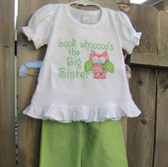 Whoooo's the Big Sister Ruffle Outift by Beanstalk Baby and Child.