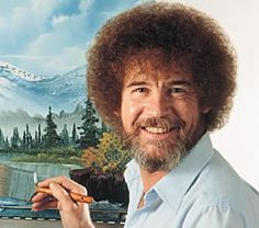 Bob Ross painting his skies and trees