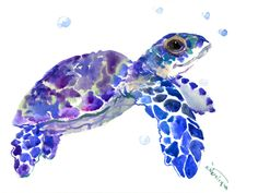 """Sea Turtle, One of a kind original watercolor painting 12"""" X 9"""" baby sea turtle sea turtle art, children wall design illustration by ORIGINALONLY on Etsy"""