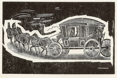 "Wood engravings for ""British Buses"" - 'first stage-coach' - by John Farleigh, c1946"