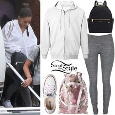 Ariana Grande was spotted arriving back in the UK on a private jet wearing the American Apparel Flex Fleece Zip Hoodie ($48.00), Lululemon Wunder Under Pants ($98.00 – wrong color), a Fenty Puma by Rihanna Floral Parachute Backpack ($350.00), Henri Bendel West 57th Backpack ($298.00) and Converse Chuck Taylor Shoreline Sneakers ($49.95).