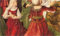 Is that a little jacket she is wearing? 1490-1500. Nacimiento de la Virgen de Pedro Berruguete birth of the Virgin.