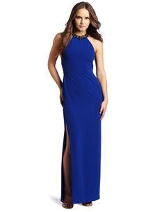 BCBGMAXAZRIA Women's Viviane Halter Evening Gown With Beaded Necklace, Blue Sapphire, 0
