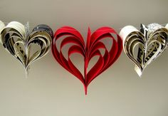 paper heart streamer- use old book pages